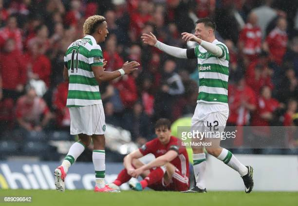 Scott Sinclair and Callum McGregor of Celtic celebrate during the William Hill Scottish Cup Final between Celtic and Aberdeen at Hampden Park on May...