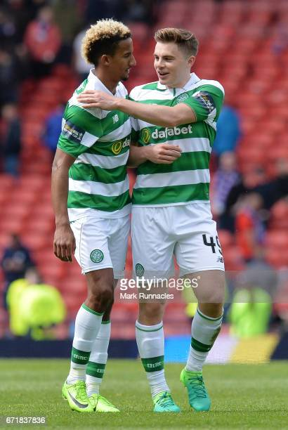 Scott Sinclair and James Forrest of Celtic celebrate their team's 20 victory after the Scottish Cup SemiFinal match between Celtic and Rangers at...