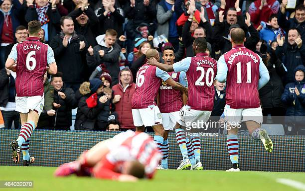 Scott Sinclair of Aston Villa celebrates after he scores the opening goal during the Barclays Premier League match between Aston Villa and Stoke City...