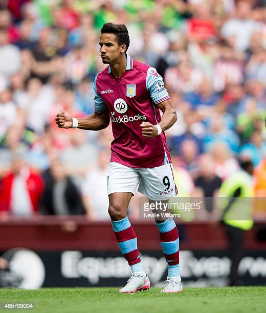 Scott Sinclair of Aston Villa celebrates after scoring their first goal during the Barclays Premier League match between Aston Villa and Sunderland...