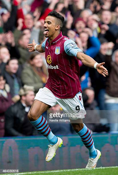 Scott Sinclair of Aston Villa celebrates his goal for Aston Villa during the Barclays Premier League match between Aston Villa and Stoke City at...