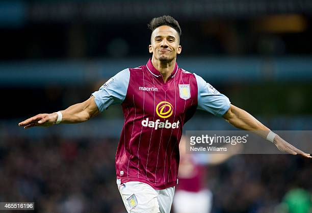 Scott Sinclair of Aston Villa celebrates his goal for Aston Villa during the FA Cup FA Cup Quarter Final match between Aston Villa and West Bromwich...