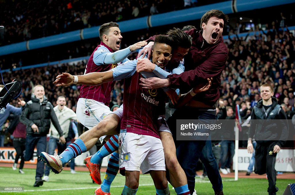 Scott Sinclair of Aston Villa celebrates his goal for Aston Villa with supporters during the FA Cup FA Cup Quarter Final match between Aston Villa and West Bromwich Albion at Villa Park on March 07, 2015 in Birmingham, England.