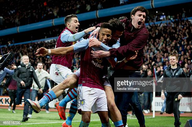 Scott Sinclair of Aston Villa celebrates his goal for Aston Villa with supporters during the FA Cup FA Cup Quarter Final match between Aston Villa...