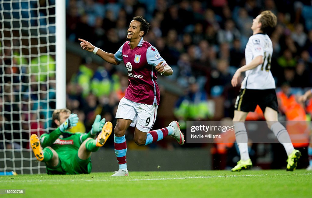 Scott Sinclair of Aston Villa celebrates his third goal for Aston Villa during the Capital One Cup Second Round match between Aston Villa and Notts County at Villa Park on August 25, 2015 in Birmingham, England.
