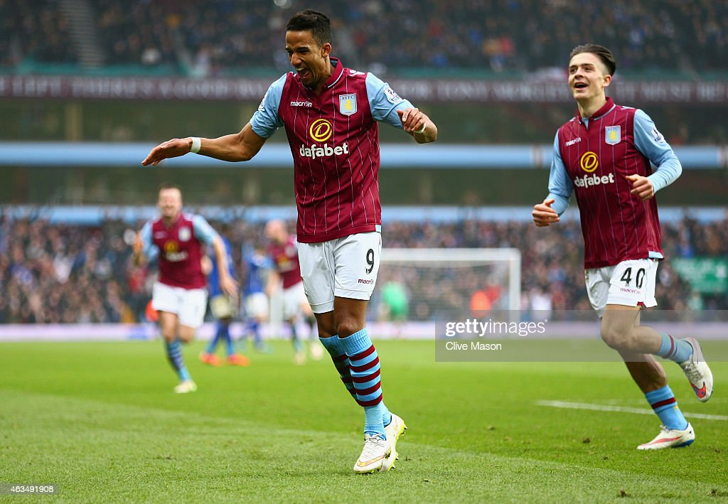 Scott Sinclair of Aston Villa celebrates scoring the second goal during the FA Cup fifth round match between Aston Villa and Leicester City at Villa Park on February 15, 2015 in Birmingham, England.