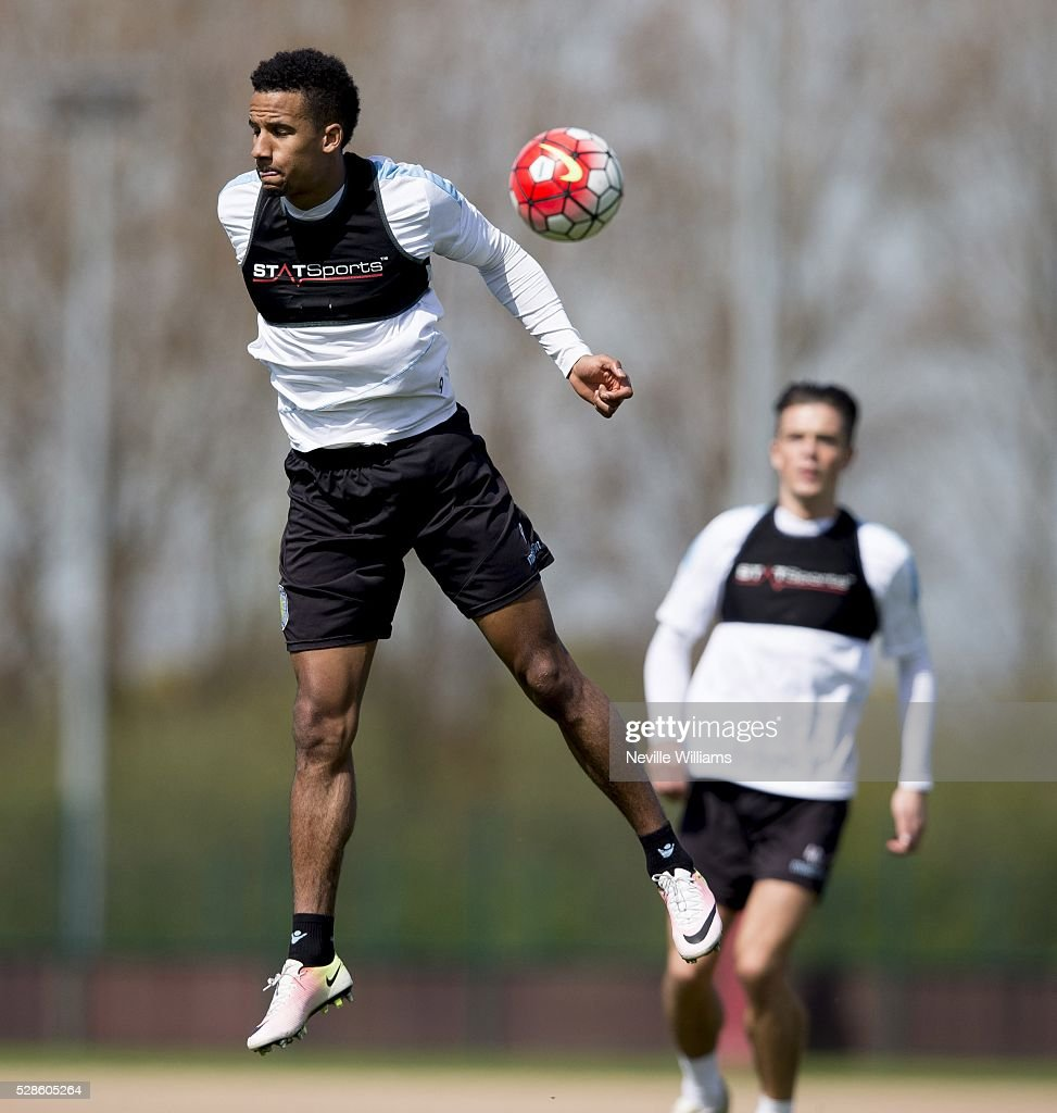 Scott Sinclair of Aston Villa in action during a Aston Villa training session at the club's training ground at Bodymoor Heath on May 06, 2016 in Birmingham, England.