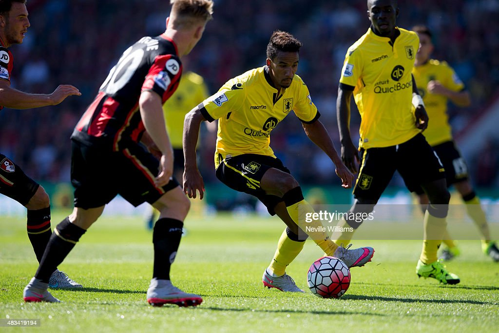 Scott Sinclair of Aston Villa in action during the Barclays Premier League match between A.F.C. Bournemouth and Aston Villa at the Vitality Stadium on August 08, 2015 in Bournemouth, England.
