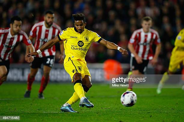 Scott Sinclair of Aston Villa scores a consolation goal from the penalty spot during the Capital One Cup Fourth Round match between Southampton v...