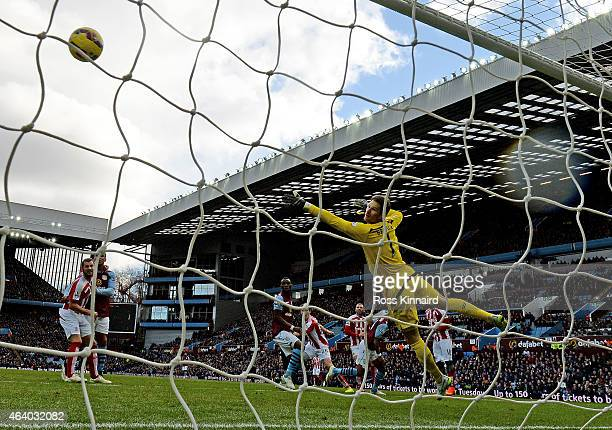 Scott Sinclair of Aston Villa scores the opening goal during the Barclays Premier League match between Aston Villa and Stoke City at Villa Park on...