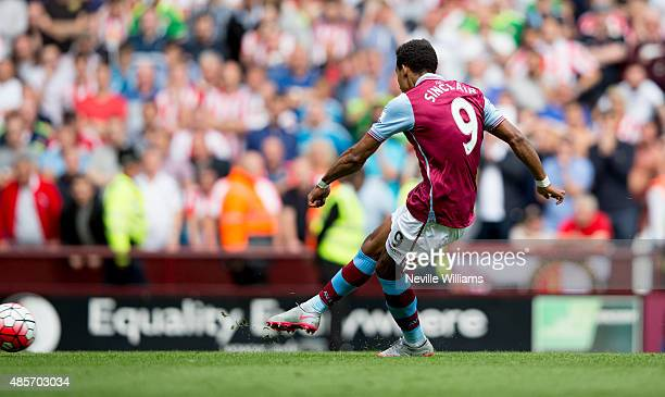 Scott Sinclair of Aston Villa scores their first goal during the Barclays Premier League match between Aston Villa and Sunderland at Villa Park on...