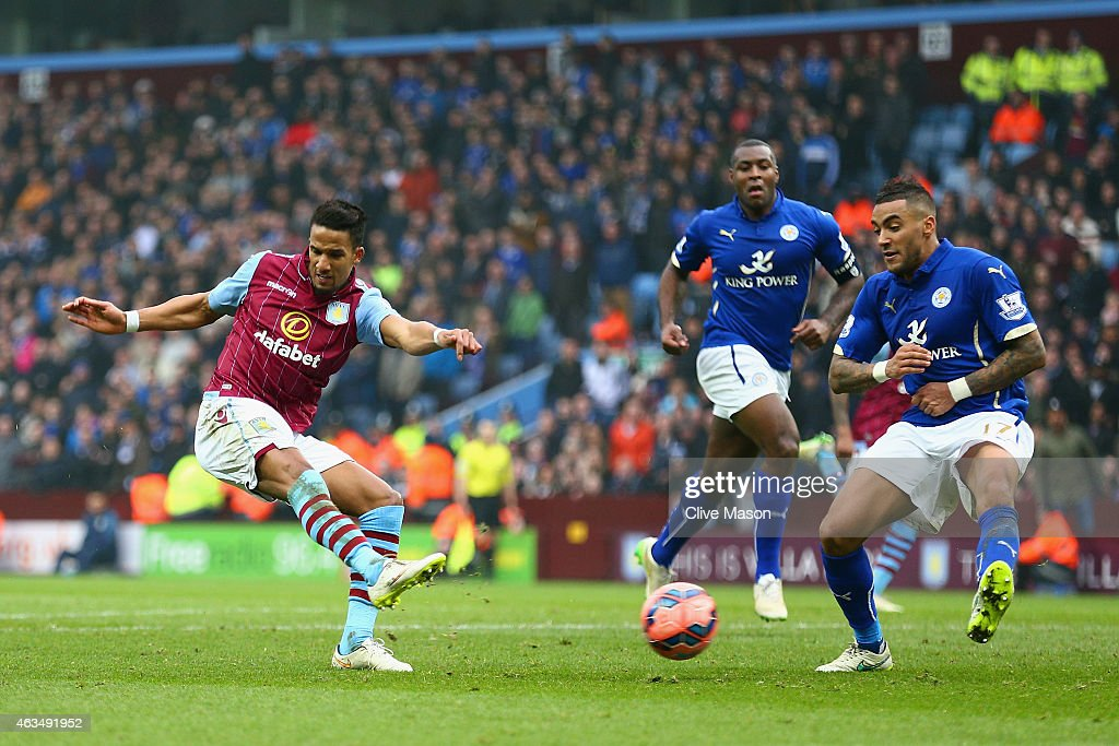 Scott Sinclair of Aston Villa scores their second goal during the FA Cup fifth round match between Aston Villa and Leicester City at Villa Park on February 15, 2015 in Birmingham, England.