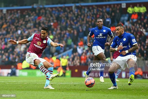 Scott Sinclair of Aston Villa scores their second goal during the FA Cup fifth round match between Aston Villa and Leicester City at Villa Park on...