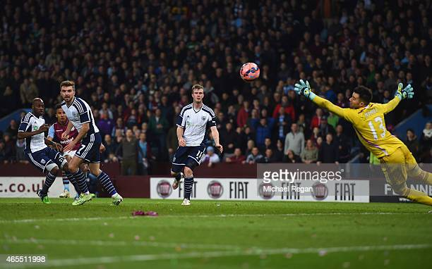 Scott Sinclair of Aston Villa scores their second goal past goalkeeper Boaz Myhill of West Bromwich Albion during the FA Cup Quarter Final match...