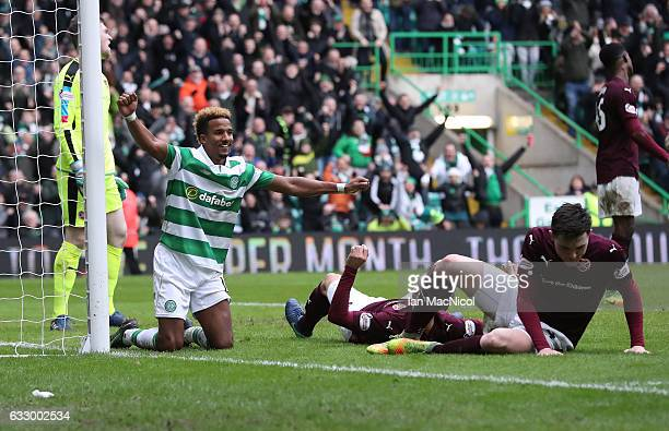 Scott Sinclair of Celtic celebrates after he scores the second goal during the Ladbrokes Scottish Premiership match between Celtic and Heart of...