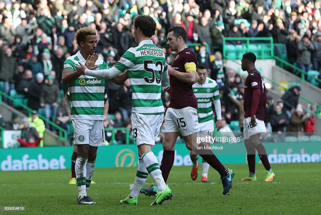 Scott Sinclair of Celtic celebrates after scores his team's fourth goal from the penalty spot during the Ladbrokes Scottish Premiership match between Celtic and Heart of Midlothian at Celtic Park Stadium on January 29, 2017 in Glasgow, Scotland.