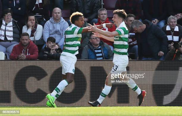 Scott Sinclair of Celtic celebrates after scoring the opening goal during the Ladbrokes Premiership match between Hearts and Celtic at Tynecastle...
