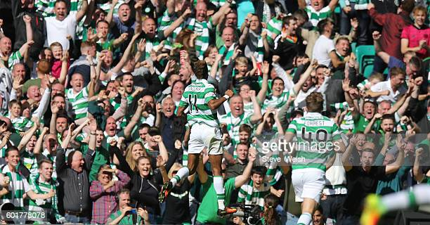 Scott Sinclair of Celtic celebrates his goal celtics 3rd during the Ladbrokes Scottish Premiership match between Celtic and Rangers on September 10...