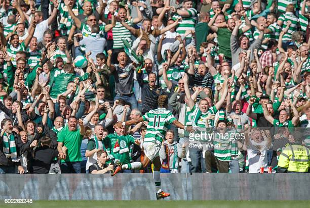 Scott Sinclair of Celtic celebrates his goal during the Ladbrokes Scottish Premiership match between Celtic and Rangers at Celtic Park on September...