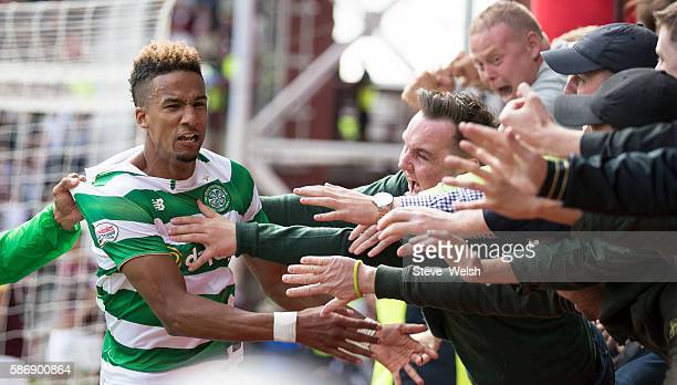 Scott Sinclair of Celtic celebrates his winning goal during the Ladbrokes Scottish Premiership match between Hearts and Celtic on August 7 2016 in...