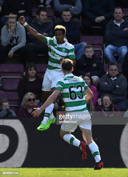 Scott Sinclair of Celtic celebrates scoring his sides first goal with Kieran Tierney of Celtic during the Ladbrokes Scottish Premiership match...
