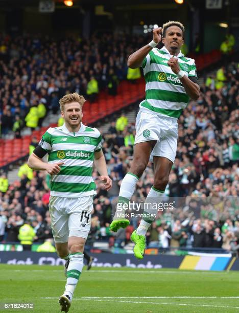 Scott Sinclair of Celtic celebrates scoring his side's second goal during the Scottish Cup SemiFinal match between Celtic and Rangers at Hampden Park...