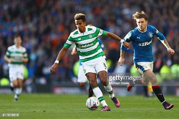 Scott Sinclair of Celtic is tracked by Josh Windass of Rangers during the Betfred Cup SemiFinal match between Rangers and Celtic at Hampden Park on...