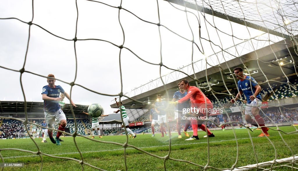 Scott Sinclair of Celtic scores during the Champions League second round first leg qualifying game between Linfield and Celtic at Windsor Park on July 14, 2017 in Belfast, Northern Ireland.