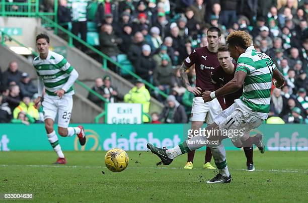 Scott Sinclair of Celtic scores his team's fourth goal from the penalty spot during the Ladbrokes Scottish Premiership match between Celtic and Heart...