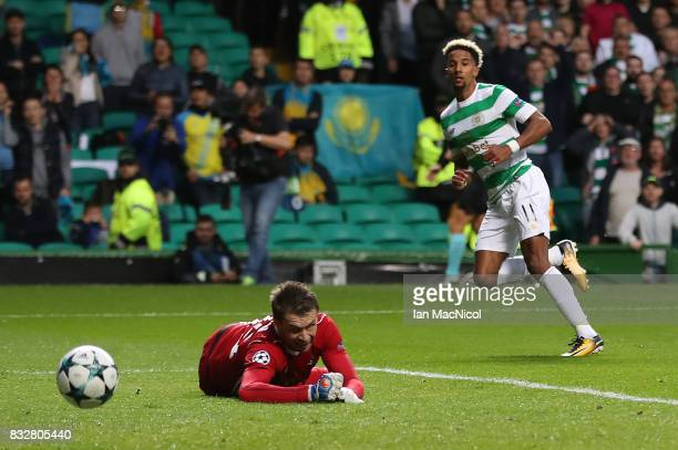 Scott Sinclair of Celtic scores his team's second goal during the UEFA Champions League Qualifying PlayOffs Round First Leg match between Celtic FC...