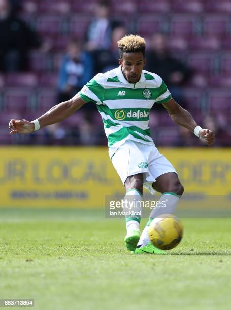 Scott Sinclair of Celtic scores his third goal from the penalty spot during the Ladbrokes Premiership match between Hearts and Celtic at Tynecastle...
