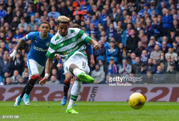 Scott Sinclair of Celtic scores the opening goal from the penalty spot during the Ladbrokes Scottish Premiership match between Rangers and Celtic at...