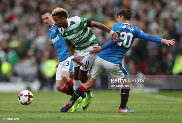 Scott Sinclair of Celtic vies with Emerson Hyndman of Rangers during the William Hill Scottish Cup semifinal match between Celtic and Rangers at...