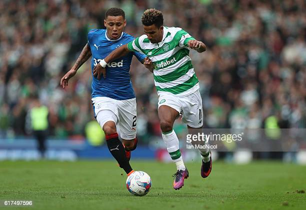 Scott Sinclair of Celtic vies with James Tavernier of Rangers during the Betfred Cup Semi Final match between Rangers and Celtic at Hampden Park on...