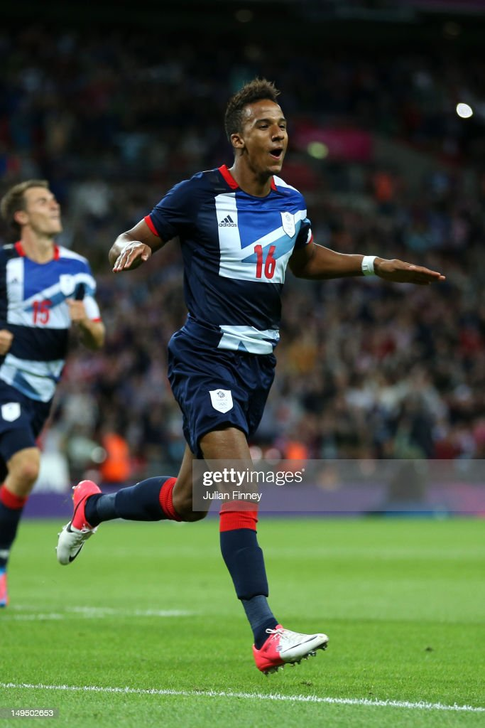 Scott Sinclair of Great Britain celebrates scoring a goal during the Men's Football first round Group A Match between Great Britain and United Arab Emirates on Day 2 of the London 2012 Olympic Games at Wembley Stadium on July 29, 2012 in London, England.