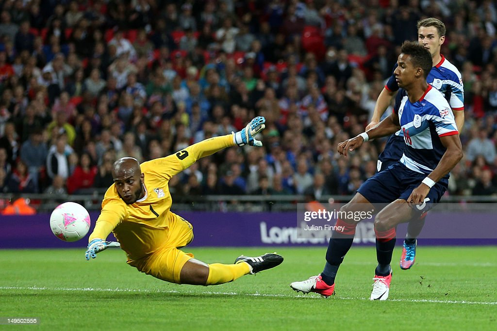 Scott Sinclair of Great Britain scores a goal during the Men's Football first round Group A Match between Great Britain and United Arab Emirates on Day 2 of the London 2012 Olympic Games at Wembley Stadium on July 29, 2012 in London, England.