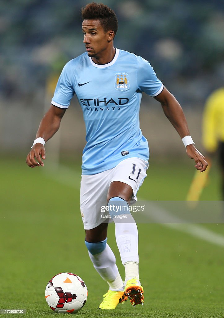 Scott Sinclair of Manchester City during the Nelson Mandela Football Invitational match between AmaZulu and Manchester City at Moses Mabhida Stadium on July 18, 2013 in Durban, South Africa.