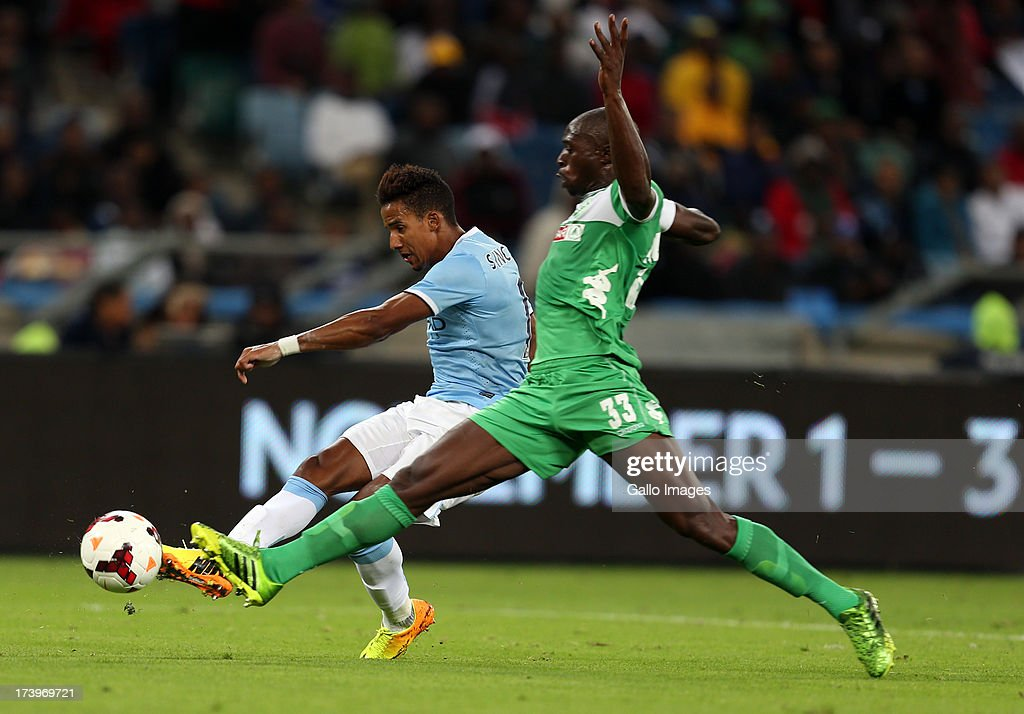 Scott Sinclair of Manchester City looking to shoot at goal during the Nelson Mandela Football Invitational match between AmaZulu and Manchester City at Moses Mabhida Stadium on July 18, 2013 in Durban, South Africa.
