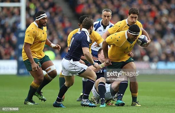 Scott Sio of Australia drives forward with the ball during the Scotland v Australia Autumn Test Match at Murrayfield Stadium on November 12 2016 in...