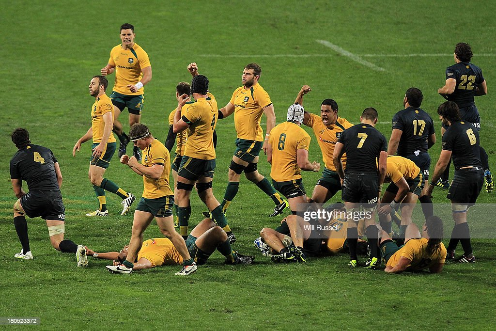 Scott Sio of the Australian Wallabies celebrates after the teams win during The Rugby Championship match between the Australian Wallabies and Argentina at Patersons Stadium on September 14, 2013 in Perth, Australia.