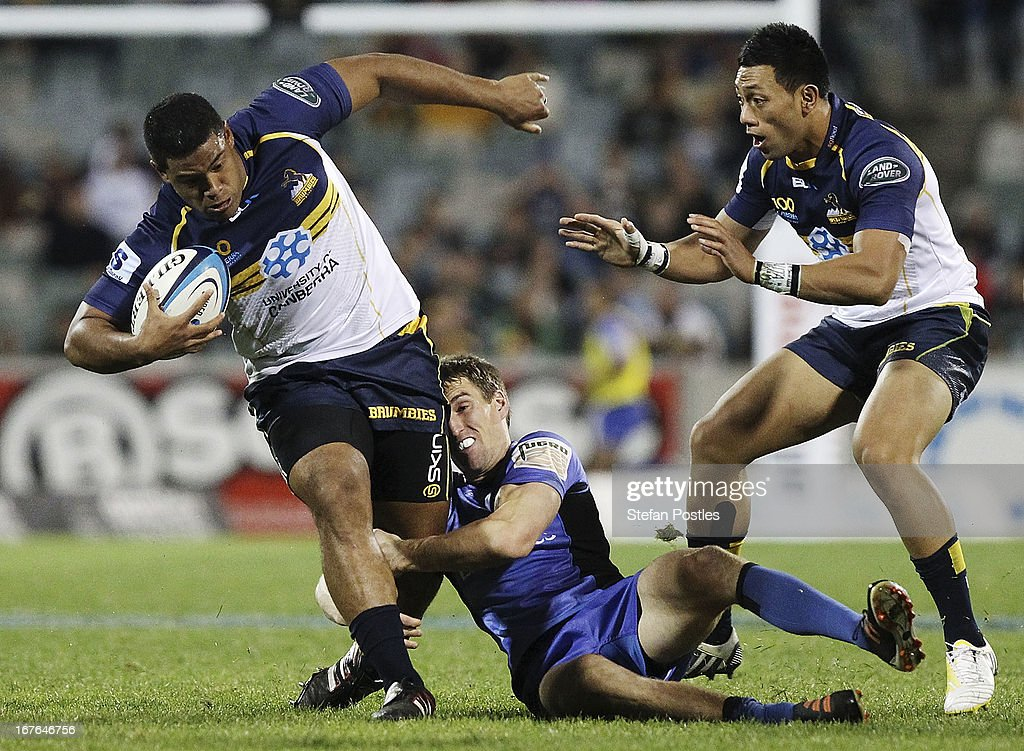Scott Sio of the Brumbies is tackled during the round 11 Super Rugby match between the Brumbies and the Force at Canberra Stadium on April 27, 2013 in Canberra, Australia.