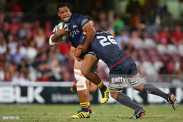 Scott Sio of the Brumbies is tackled during the Super Rugby PreSeason match between the Reds and the Brumbies at Ballymore Stadium on February 12...
