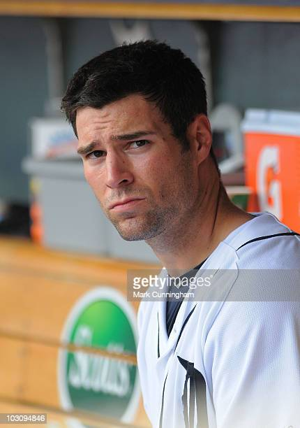 Scott Sizemore of the Detroit Tigers looks on from the dugout against the Toronto Blue Jays during the game at Comerica Park on July 22 2010 in...