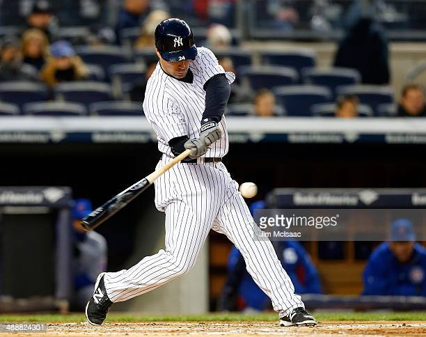 Scott Sizemore of the New York Yankees in action against the Chicago Cubs during game two of a doubleheader at Yankee Stadium on April 16 2014 in the...