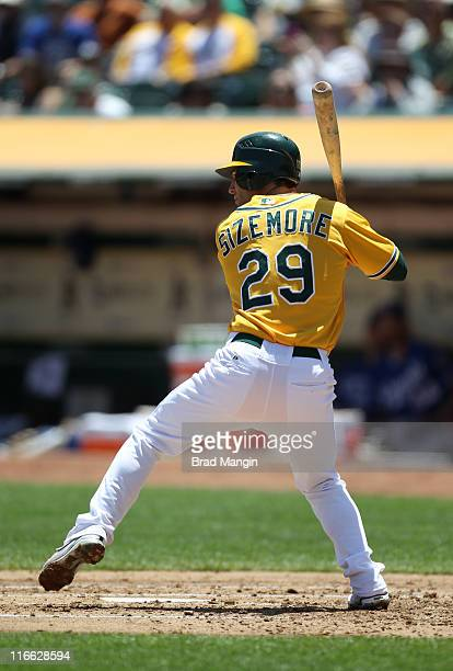 Scott Sizemore of the Oakland Athletics bats against the Kansas City Royals during the game at the OaklandAlameda County Coliseum on Thursday June 16...