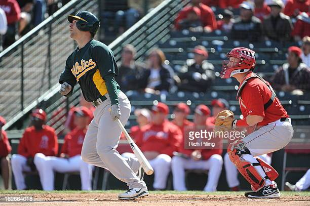 Scott Sizemore of the Oakland Athletics bats during the game against the Los Angeles Angeles of Anaheim on February 24 2013 at Tempe Diablo Stadium...