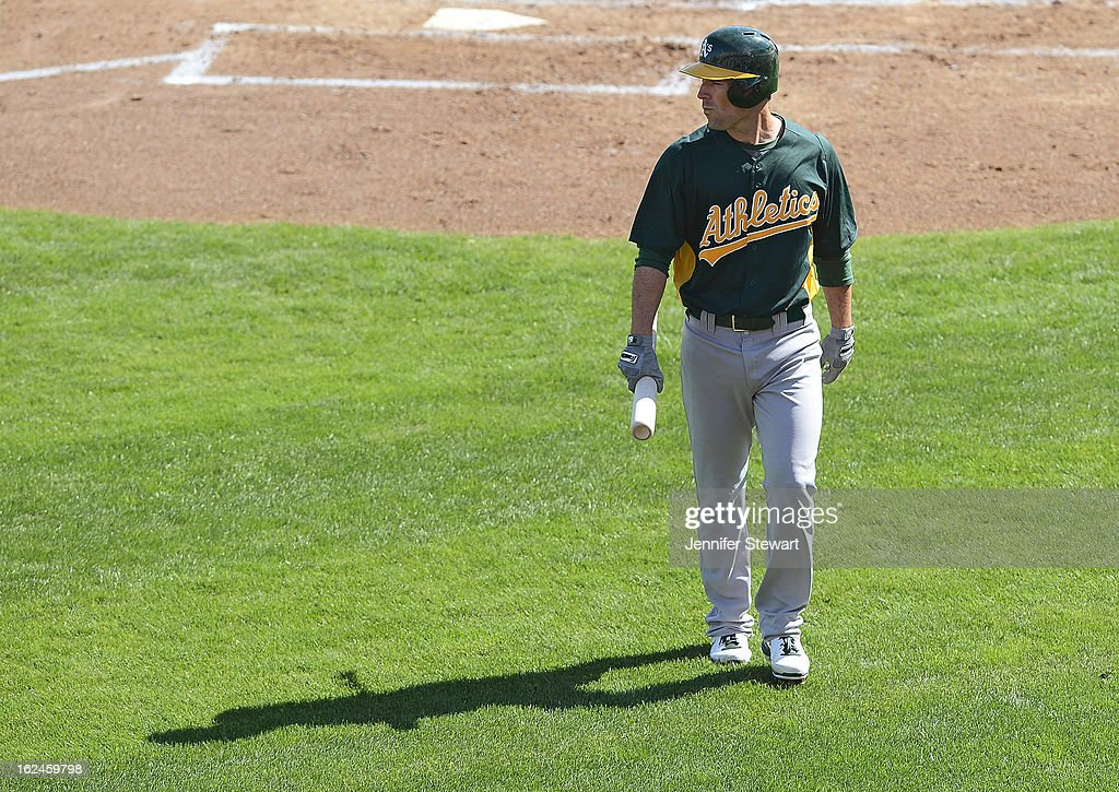 <a gi-track='captionPersonalityLinkClicked' href=/galleries/search?phrase=Scott+Sizemore&family=editorial&specificpeople=4959084 ng-click='$event.stopPropagation()'>Scott Sizemore</a> #29 of the Oakland Athletics walks back to the dugout after striking out against the Milwaukee Brewers in the spring training game at Maryvale Baseball Park on February 23, 2013 in Phoenix, Arizona.