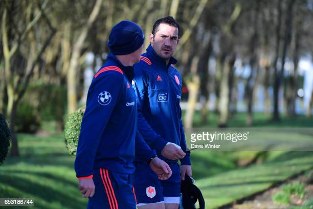 Scott Spedding of France and France defence coach Gerald Bastide during the training session of the France rugby team at Centre National de Rugby on...