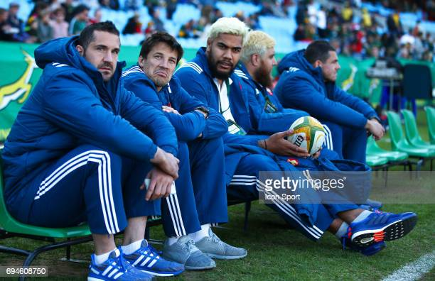 Scott Spending Francois Trinh Duc and Romain Taofifenua of France during the international test match between South Africa and France at Loftus...