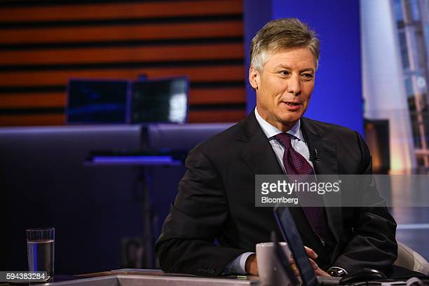 Scott Sperling copresident of Thomas Lee Partners LP listens during a Bloomberg Television interview in New York US on Tuesday Aug 23 2016 Sperling...